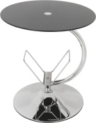 AVF T41 Living Room Side Table with Magazine Holder in Black Glass with Chrome Base