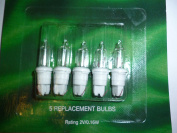 5 Clear Push In Spare Replacement Bulbs 2v 0.16w