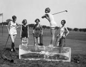 1928 Bathing Beauties Golfing on Ice Vintage Photograph 22cm x 28cm Reprint
