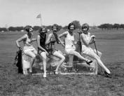 1928 Golfing Bathing Beauties on Ice Vintage Photograph 22cm x 28cm Reprint