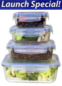 [Premium 4 Sets] Glass Meal Prep Food Storage Container with Snap Locking Lid, Glass Meal Prep Containers BPA-Free, Microwave, Oven, Freezer, Dishwasher Safe