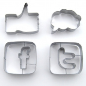 Social Media Cookie Cutter Set, Stainless Steel, 4 Piece Set