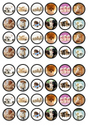 48 Puppies Dogs Edible PREMIUM THICKNESS SWEETENED VANILLA, Wafer Rice Paper Cupcake Toppers/Decorations