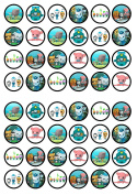 48 Octonauts Edible PREMIUM THICKNESS SWEETENED VANILLA, Wafer Rice Paper Cupcake Toppers/Decorations