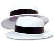 DDI 1878023 White Plastic Gangster Hat Party Favour