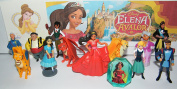 Disney Elena of Avalon Deluxe Figure Set of 14 Toy Kit with Figures, Tattoo Sheet and ToyRing featuring Princess Elena, Wizard Mateo, 3 Jacquins, Lieutenant Gabriel and More!