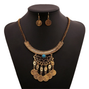 Lanue Fashion Bib Bohemian Statement Coin Necklace and Earrings Punk Ethnic style Jewellery Set for Women