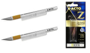 X-ACTO #1 Knife, Z Series With Safety Cap, 2 Pack with X-ACTO Z Series Light-Weight Replacement Stainless Steel Blade