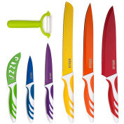 HULLR 7 Piece Kitchen Knife Set Stainless Steel Knives with Multi Coloured Non-Stick Coating Includes Ceramic Peeler Gift Box