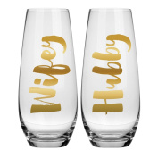 Hubby Wifey Champagne Glass Set - 300ml Stemless Champagne Glasses