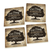 Our Family Tree Distressed Wood Look Set of 4 Ceramic Coaster Pack