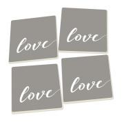 Love Script Design White Grey Set of 4 Ceramic Coaster Pack