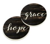 Grace Hope Script Design Wood Look Set of 2 Ceramic Car Coaster Pack