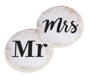 Mr & Mrs Black White Set of 2 Ceramic Car Coaster Pack
