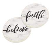 Faith Believe Script Design White Set of 2 Ceramic Car Coaster Pack