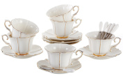 Jusalpha Porcelain Tea Cup and Saucer Coffee Cup Set with Saucer and Spoon FD-TCS08