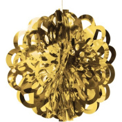 Club Pack of 12 Gold Dye Cut Hanging Metallic Foil Ball Party Decorations 41cm
