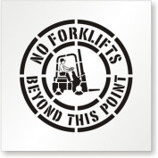 "SmartSign Polyethylene Reusable Stencil, Legend ""No Forklifts Beyond this Point"" with Graphic, 60cm high x 60cm wide, Black on White"