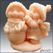 Snowman takes care of friend - 3d Soap/candle/polymer/clay/cold Porcelain Silicone Mould