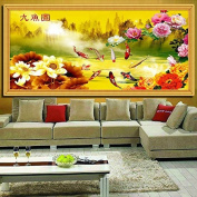 Cross stitch, lotus flower, flower, fish, Chinese style, C0162