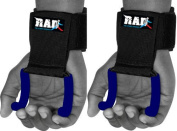 RAD Heavy Duty Weightlifting Rod Hooks Wrist Support Straps Power Gripper Chin Up Blue