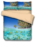 Mangogo Chic 3D Fish Ocean Boys Kids Queen 3pc Duvet Cover Pillowcase Bedding Sets Colourful Sky Blue