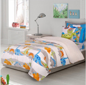 NEW COLLECTION DINOSAURS BOYS BLANKET WITH SHERPA VERY SOFTY,THICK FLAT SHEET,FITTED SHEETS AND PILLOWCASES 4 PCS TWIN SIZE