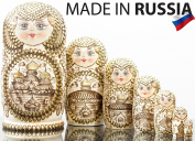 """Russian Nesting Doll - """"Golden Domes of Russia"""" - Hand Painted in Russia -- BIG SIZE - Traditional Matryoshka Babushka - 7 pieces"""