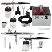 OPHIR Pro 3-Airbrush Kits 0.2mm 0.3mm 0.35mm Dual-Action & 110V Air Compressor for Temporary Tattoo Body Paint