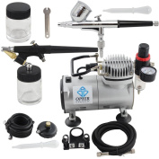 OPHIR 110V 2-Airbrush Kit & Air Compressor Dual & Single Action Spray with 110V Air Brush Set for Tattoo Hobby Makeup