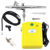 OPHIR 0.2mm Dual-Action Airbrush Kit with Mini Air Compressor for Makeup Hobby Airbrushing
