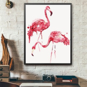 MADE4U [ Flamingo Series ] [ 50cm ] [ Wood Framed ] Paint By Numbers Kit with Brushes and Paints