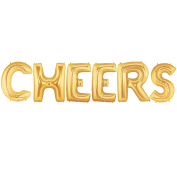 CHEERS Alphabet Word Balloons - Gold Foil Celebration Letters 100cm