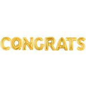 CONGRATS Alphabet Word Balloons - Gold Foil Celebration Letters 100cm