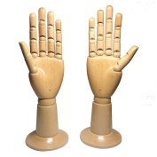 Kukin Mannequin hand with wooden base, Flexible joints of hand model for gloves display