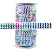 100 Yards - Rainbow Chevron on Aqua - 1.6cm Fold Over Elastic - ElasticByTheYard