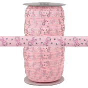 100 Yards - Breast Cancer Ribbon on Pink - 1.6cm Fold Over Elastic - ElasticByTheYard