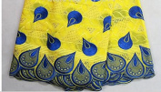 Mangocore Yellow And Blue Embroidery Lace Fabric African Swiss Voile Lace 100% Cotton Lace Fabric