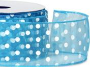 Vivid Turquoise w/ White Dot Ribbon 5.1cm - 1.3cm x 25 yds Wired 100% Nylon (5 Rolls) - WRAPS-52988