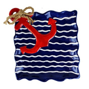 DII Blue Wavy Stripe Red Anchor Plate