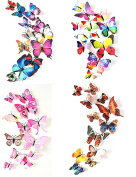 HDYD 48Pcs 3d Butterfly Stickers Wall Stickers Crafts Butterflies with Sponge Gum and Pins(4 Colour)