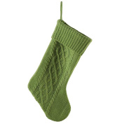 Green Cable Knit Sweater with Ribbed Cuff 50cm Christmas Stocking Decoration