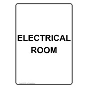 ComplianceSigns Vertical Plastic Electrical Room Sign, 25cm X 18cm . with English Text, White