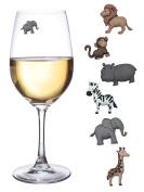 Animal Wine Charms Set of 6 Safari Themed Wine Glass Markers