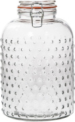 Hobnail Design Bail and Trigger Canister -4790ml Clear Glass Round Jar with Tight Lids for Bathroom or Kitchen - Food Storage Containers
