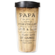 Papa Definition Rustic Look 470ml Tumbler Mug with Lid