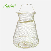 Saim 40cm Height Gold Tone Folding Spring Design 3 Layers Fish Cage Fishing Keep Net for Fisher