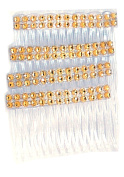 4 pack of clear Hair Combs Slides 7cm with Gold Diamontie Diamante effect