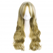 MapofBeauty Mixed Blonde Long Wave Charming Curly Costume Wig