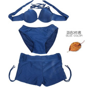 ZHANGYONG*Bikini 3 piece sexy steel and small particles of chest split Swimsuit Model 4 corner trousers ,M, Dark Blue 3 piece set